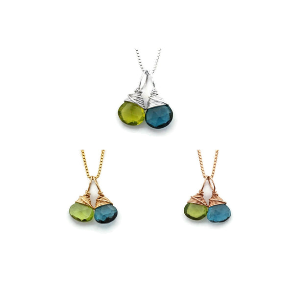 2 birthstone mom necklaces by Jen Lesea Designs