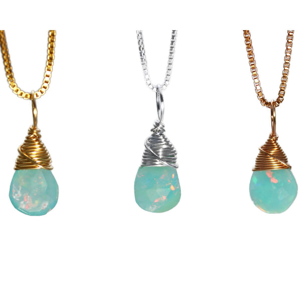 Blue opal necklaces by Jen Lesea Designs