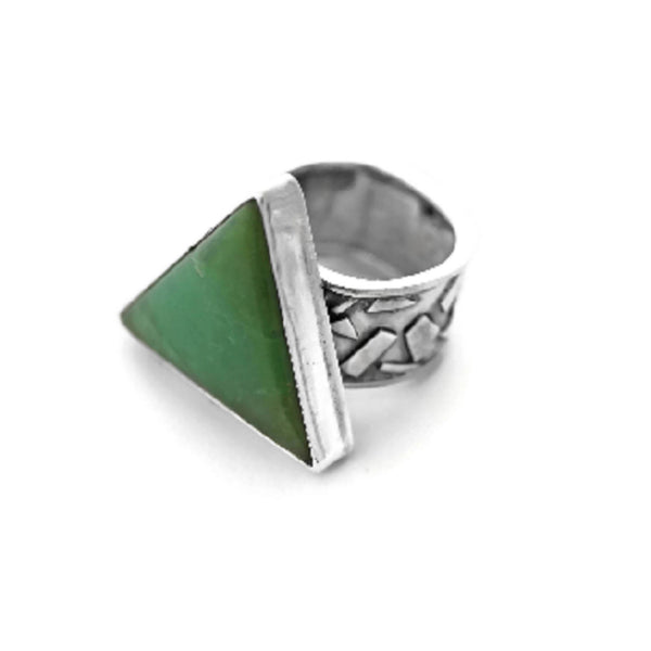Chrysoprase ring by Jen Lesea Designs