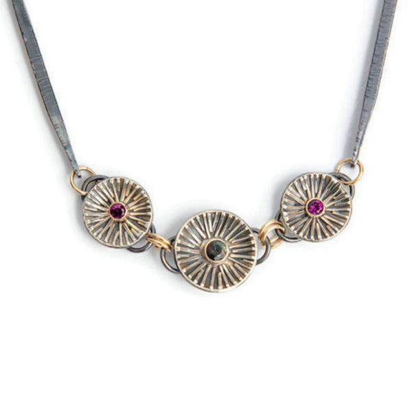 Garnet and sunstone silver and gold necklace by Jen Lesea Designs