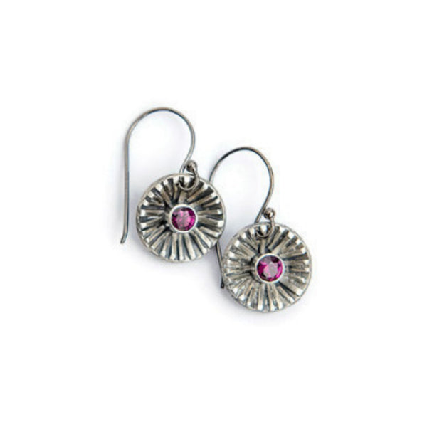 Garnet silver sun earrings by Jen Lesea Designs