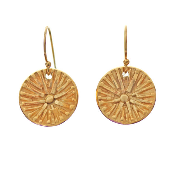 Gold Sun Earrings by Jen Lesea Designs