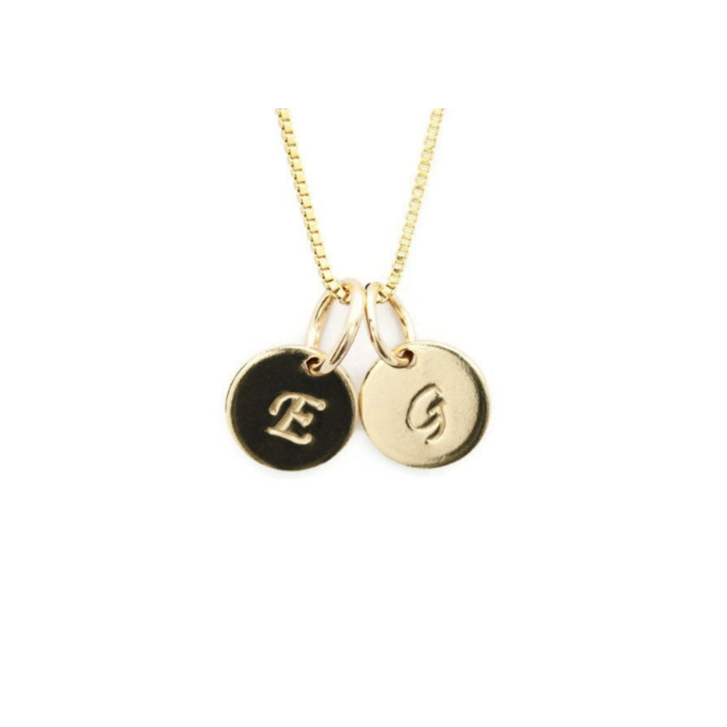 Gold mom 2 initial charm necklace by Jen Lesea Designs
