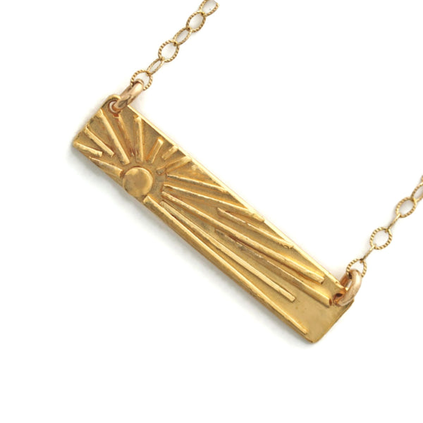 Gold sun bar necklace by Jen Lesea Designs