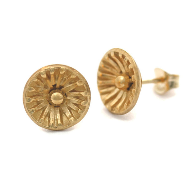 Gold sun stud earrings by Jen Lesea Designs