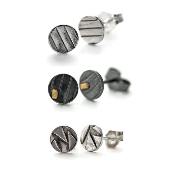 Mini disc stud earrings by Jen Lesea Designs