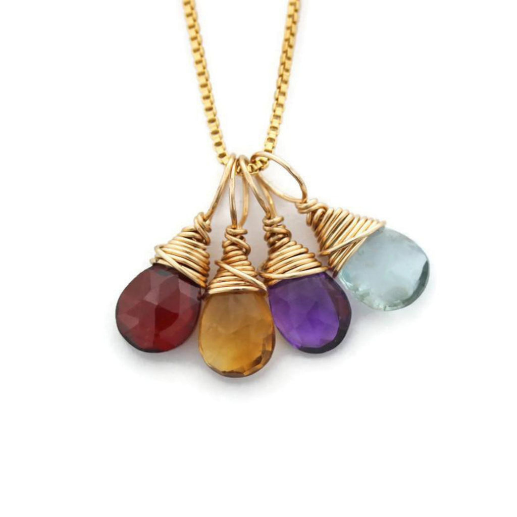 Mom gold necklace four birthstones by Jen Lesea Designs