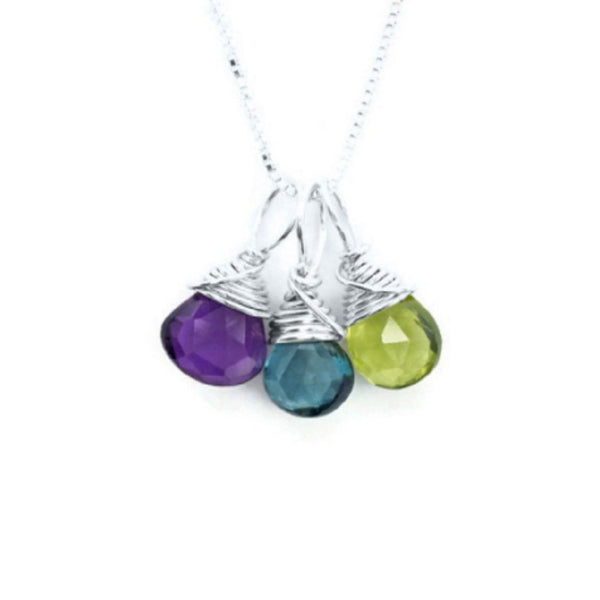 Mom silver necklace with three birthstones by Jen Lesea Designs