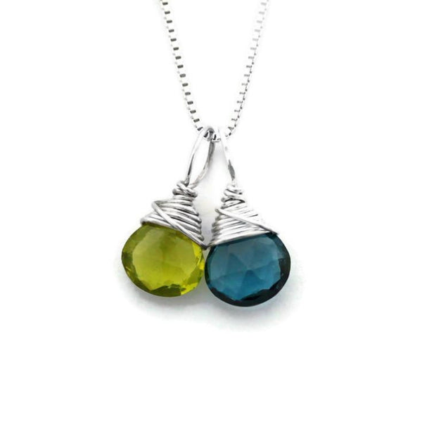 Mom silver necklace with two birthstones by Jen Lesea Designs