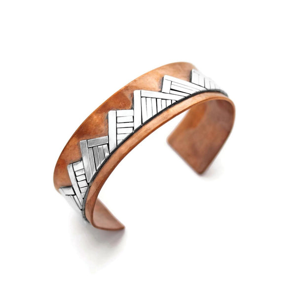 Mountain bracelet in copper and silver by Jen Lesea Designs