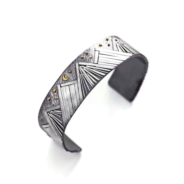 Mountain bracelet in sterling silver and gold by Jen Lesea Designs