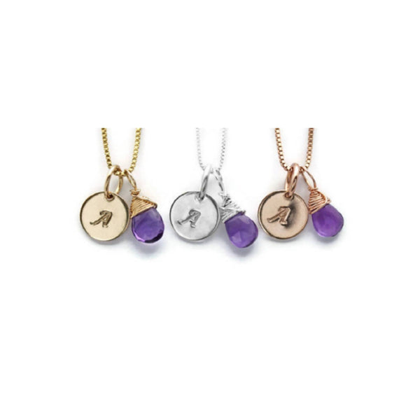 Personalized Birthstone and Initial Charm Necklaces