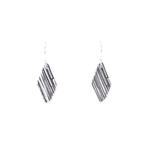 Rhomboid silver earrings