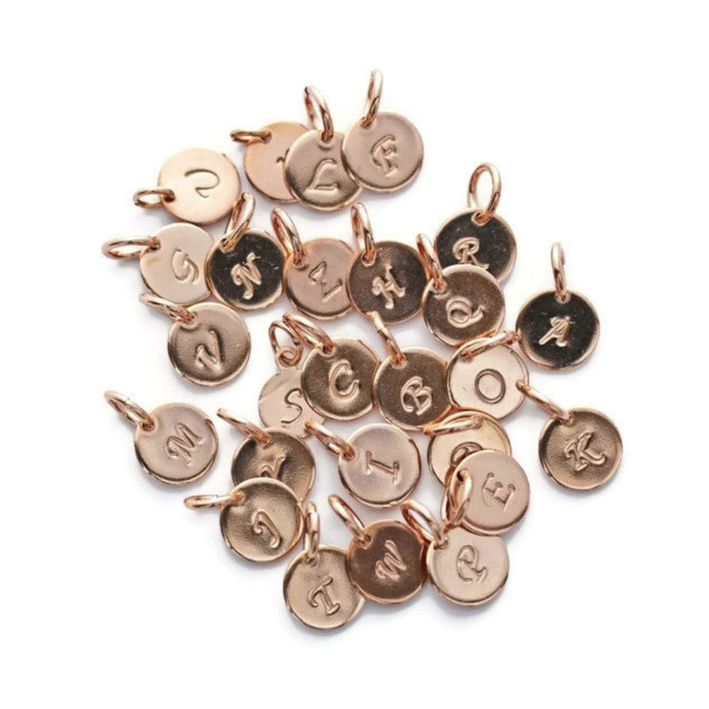 Rose gold initial charms by Jen Lesea Designs