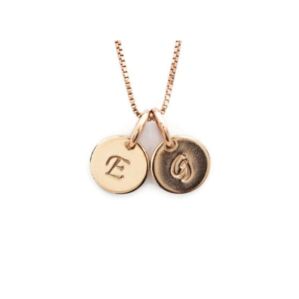 Rose gold mom 2 initial charm necklace by Jen Lesea Designs