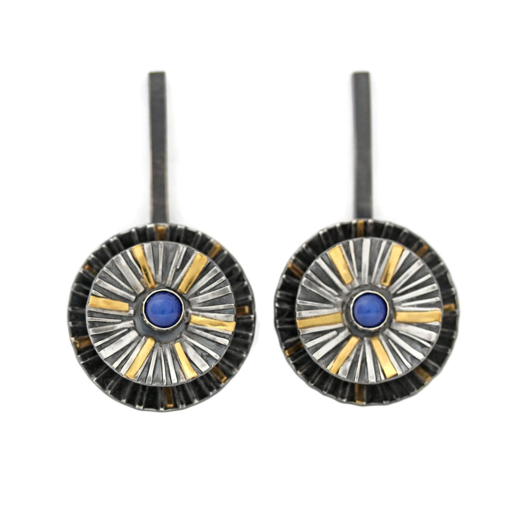 Sapphire earrings silver and gold by Jen Lesea Designs