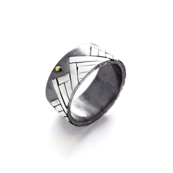 Silver and gold mountain ring by Jen Lesea Designs