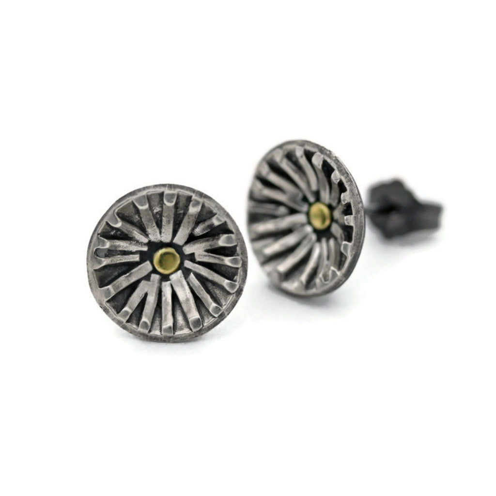 Silver and gold sun stud earrings by Jen Lesea Designs