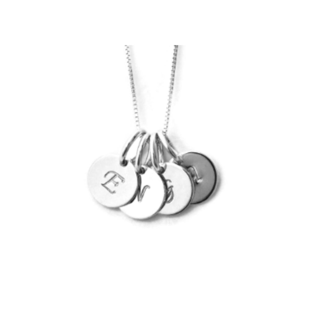 Silver mom 4 initial charm necklace by Jen Lesea Designs