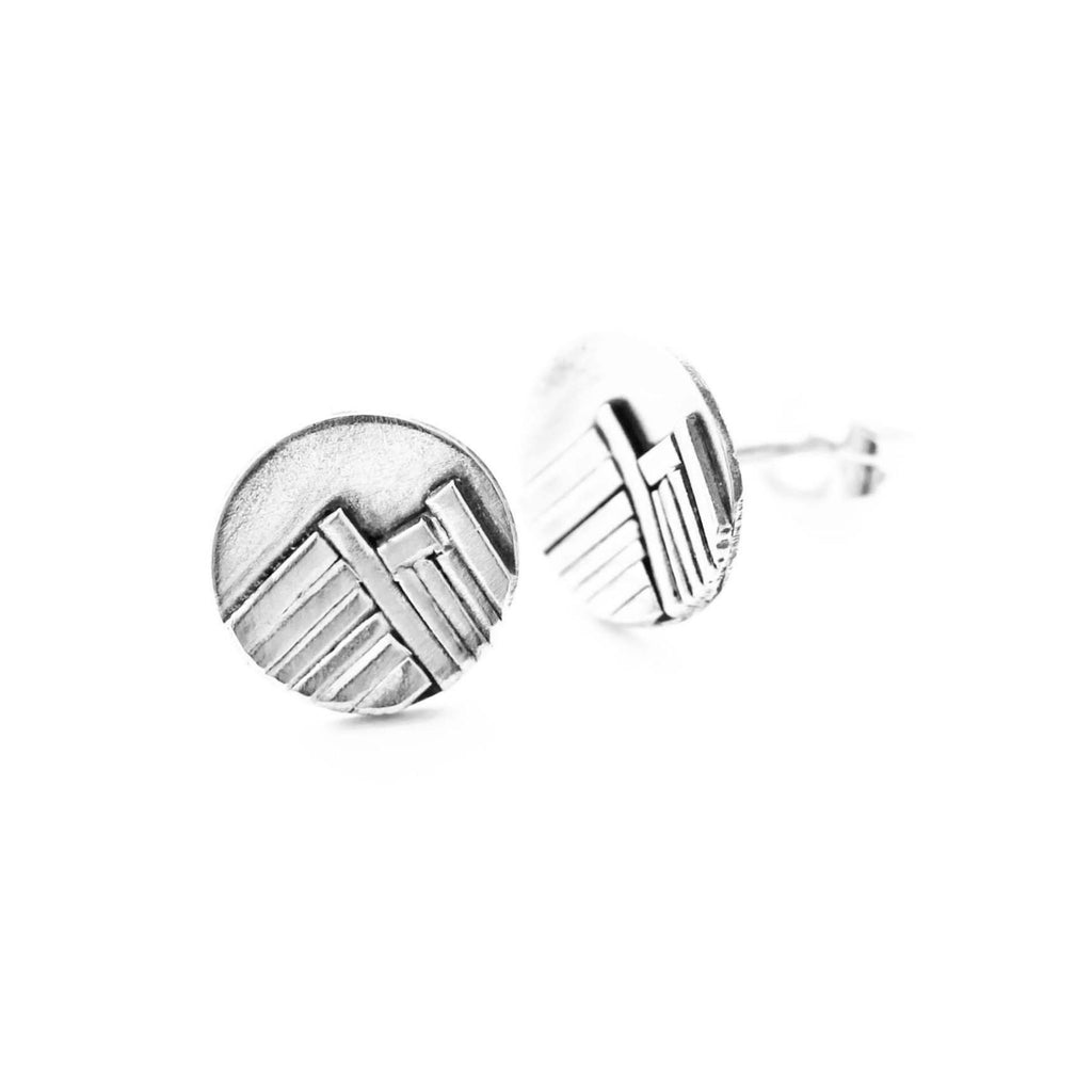 Silver mountain stud earrings by Jen Lesea Designs