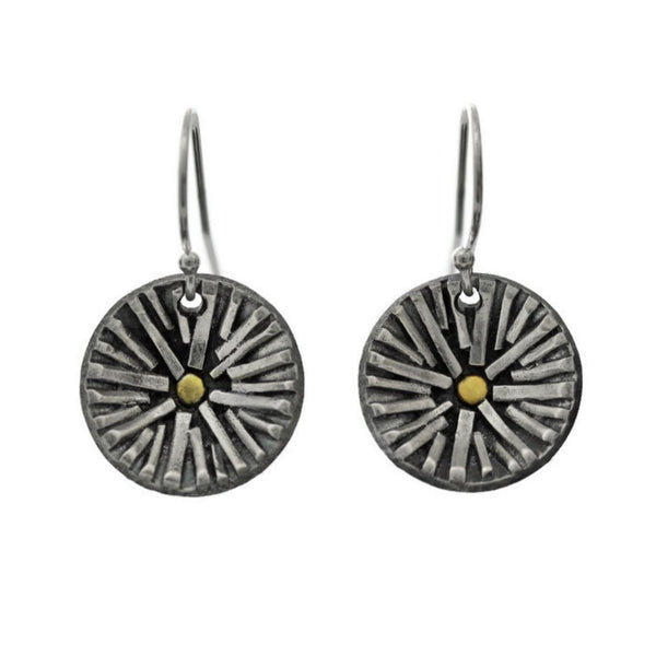 Silver and gold sun earrings by Jen Lesea Designs