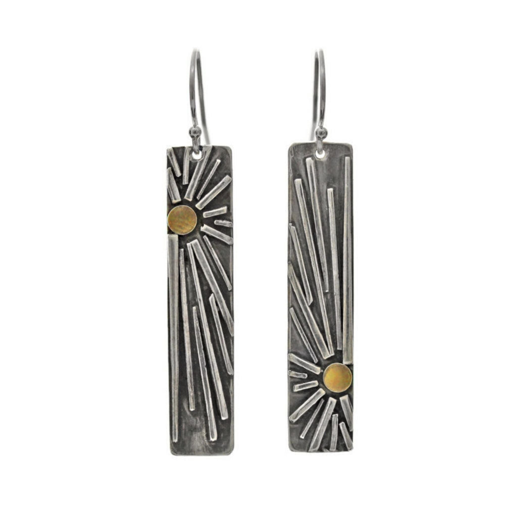 Sun bar earrings silver and gold by Jen Lesea Designs