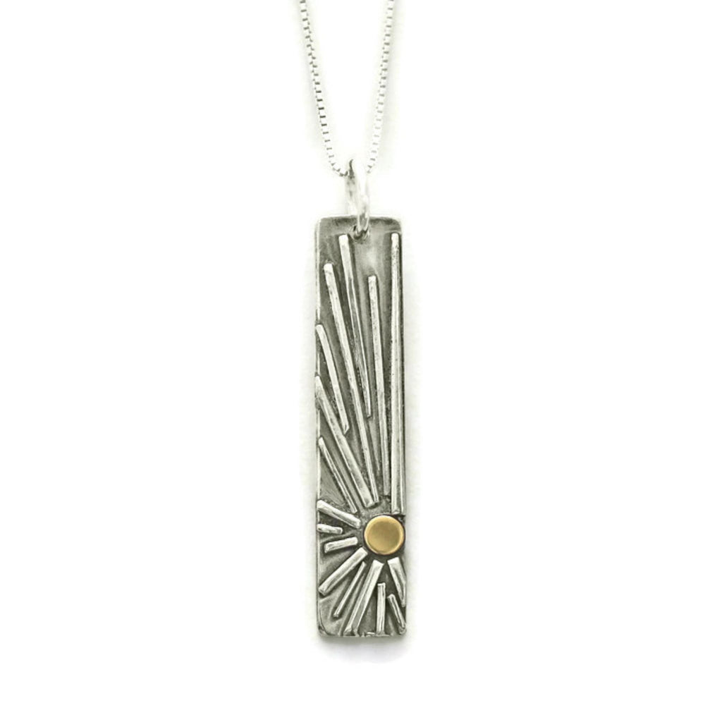 Sun vertial bar necklace silver and gold by Jen Lesea Designs