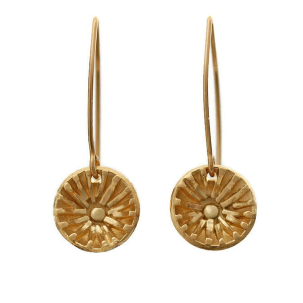 Mini gold sun earrings by Jen Lesea Designs