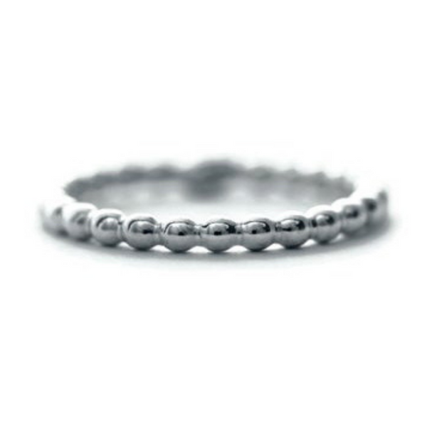 Silver beaded stacking ring by Jen Lesea Designs