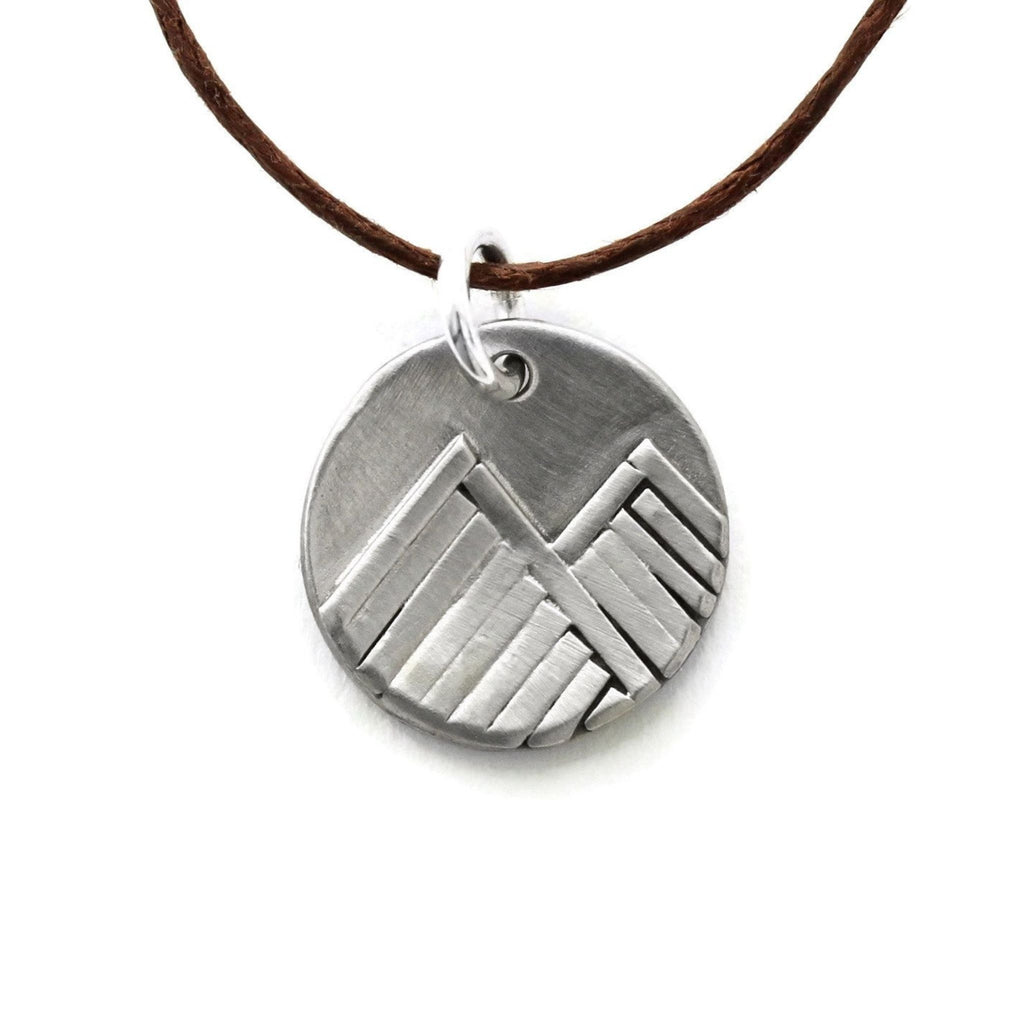 Small white bronze mountain pendant necklace by Jen Lesea Designs