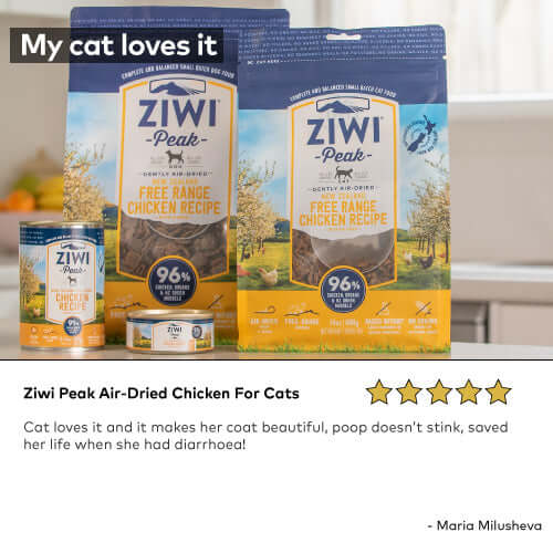 Ziwi Peak Air-Dried Chicken For Cats Cat loves it and it makes her coat beautiful, poop doesn't stink, saved her life when she had diarrhoea!