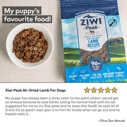 Ziwi Peak Air-Dried Lamb For Dogs My puppy has always been a picky eater to the point where I would get so anxious because he was barely eating his normal food until my vet suggested for me to try Ziwi peak and he loves this food!! He eats all of it and it's so good I even give it to him for treats when we go out and he happily eats it.