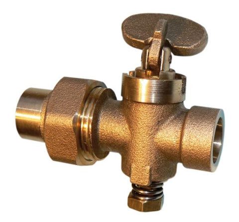 Drop fan brass endfeed union gas cock 15mm