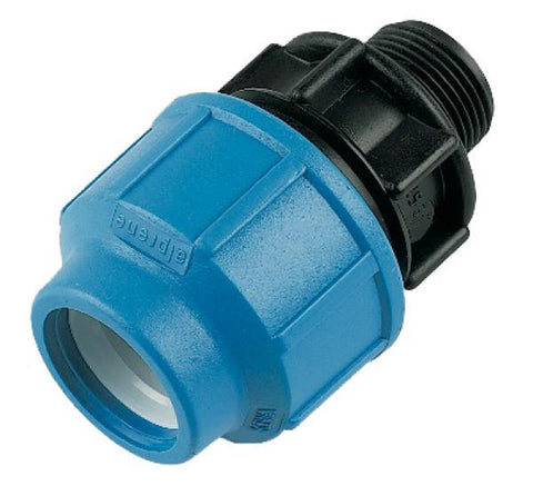 Male adaptor for MDPE pipe