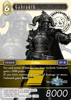 Gabranth 1-098 R Alternate Art Promo Foil 30th Year Anniversary