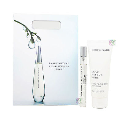 Issey Miyake L'Eau D'issey Pure Gift Set Edp 10ml + Body Cream Women New