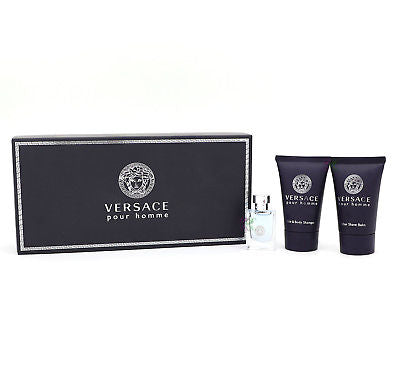 Versace Pour Homme Gift Set Edt 5ml Perfume Aftershave Balm 25ml Shower Gel 25ml