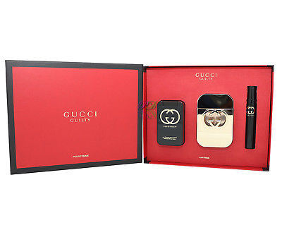 Gucci Guilty Gift Set Edt 75ml + Body Lotion 100ml + Edt 7.5ml Perfume Women New