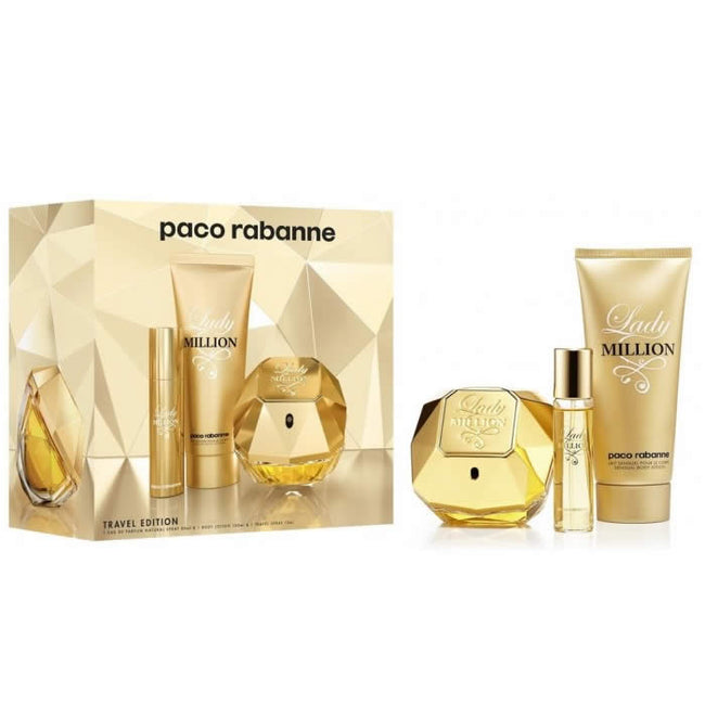 Paco Rabanne Lady Million Eau De Perfume Spray 80ml Set 3 Pieces 2018
