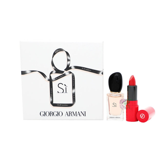 Giorgio Armani Si Edp 7ml Perfume + Rouge Ecstasy Lip Stick 1.5ml Set de regalo para mujer