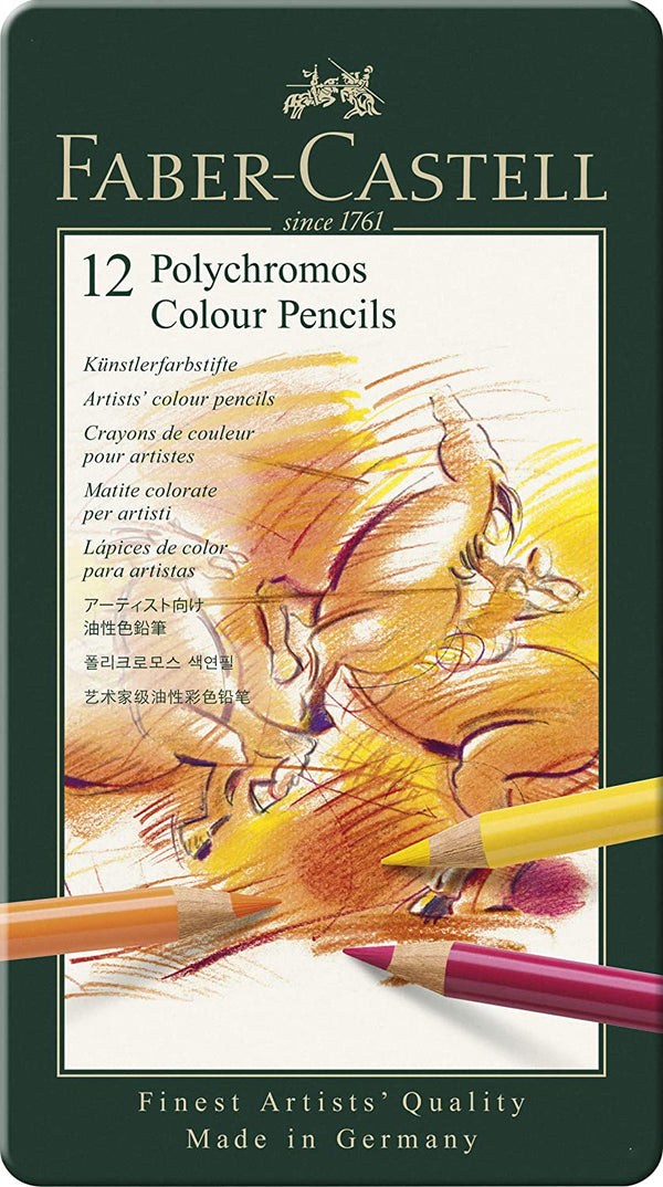 Faber-Castell 110012 Polychromos Colour Pencils Tin Of 12