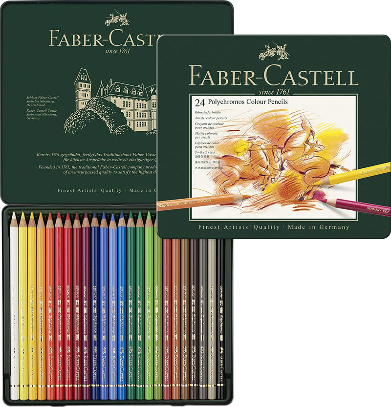 Faber-Castell 110024 Polychromos Colored Pencil Set of 24 in Metal Tin