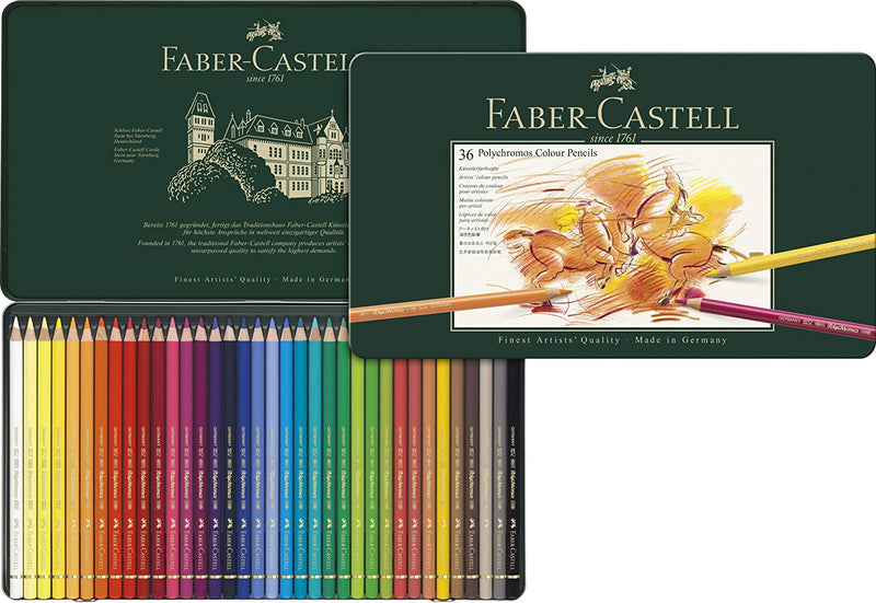 Faber-Castell 110036 Polychromos Colored Pencil Metal Tin Set of 36