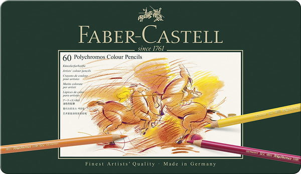 Faber-Castell 110060 Polychromos Colored Pencil Set In Metal Tin, Set of 60