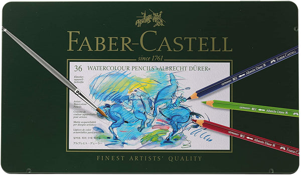 Faber-Castell FC117536 Albrecht Durer Artist Watercolor Pencils in A Metal Tin - 36 Pack