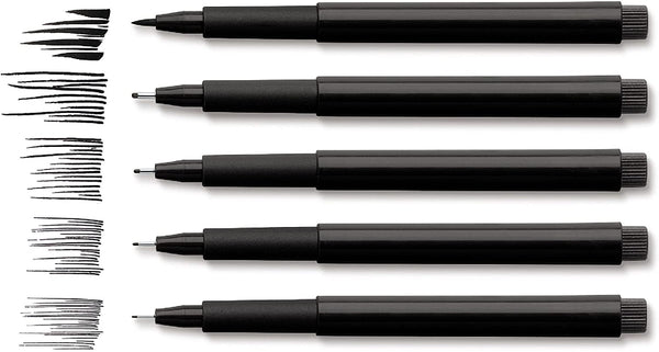 Faber-Castell 167100 Pitt Artist Pen Wallet Black - Set of 4 pen