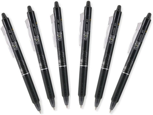 Pilot FriXion Clicker 0.7mm, Erasable Gel Pens, Fine Point, Black Ink, Pack Of 6