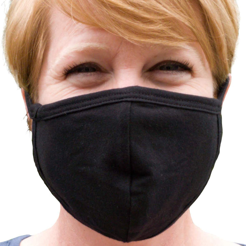 Black Adult Cotton Face Mask with Filter Pocket - Two Layer Soft - Washable (Pack of 3)