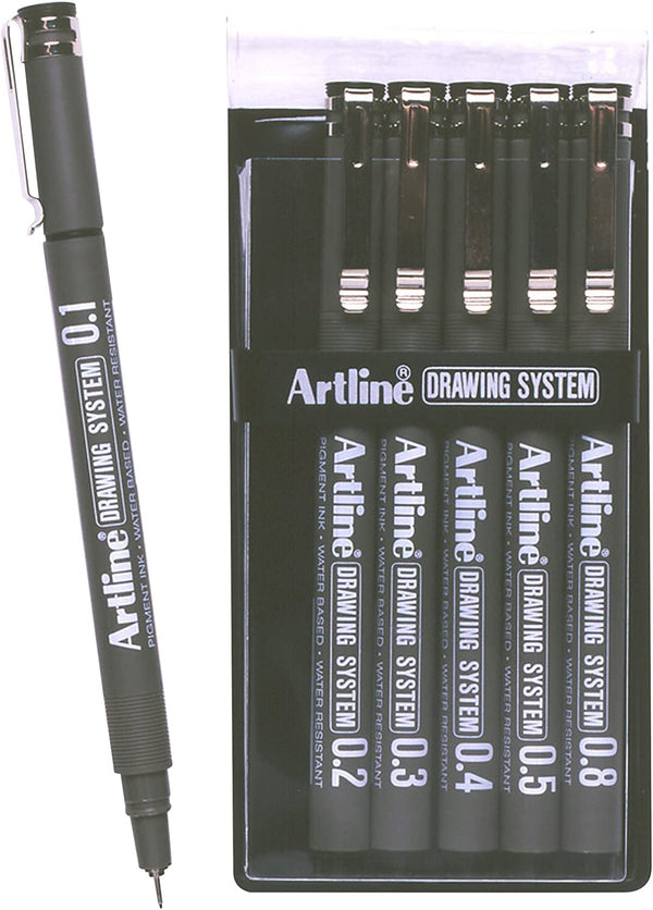 Artline 0.1mm/0.2mm/0.3mm/0.4mm/0.5mm/0.8mm Drawing System Black (Wallet of 6)