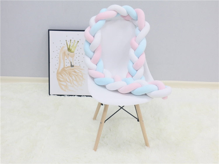 1M/2M/3M Baby Bumper Bed Braid Knot Cushion Bumper for Infant